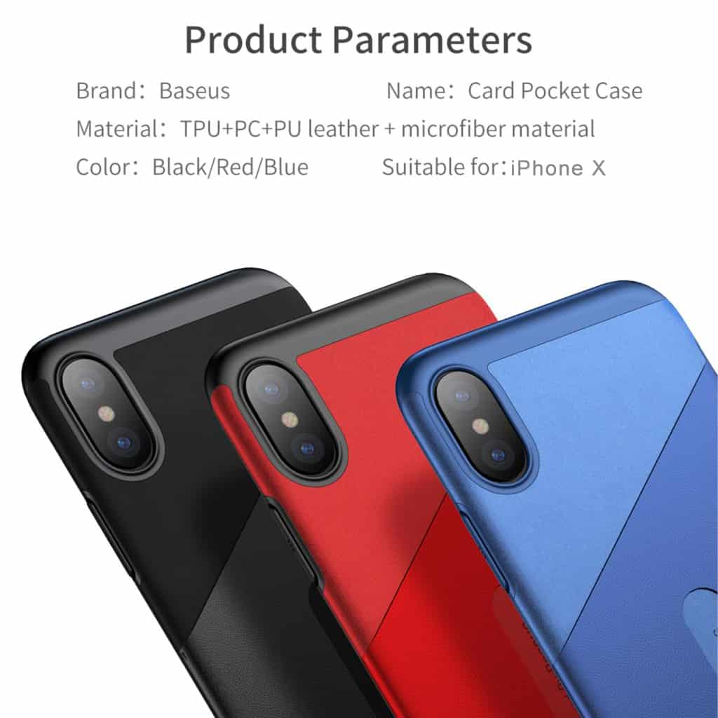 reputable site bcd82 6b0ee Baseus Card Pocket Case For iPhone X