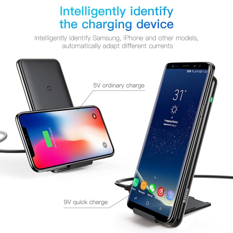 baseus 10w 3 coils wireless charger for iphone x xs max xr. Black Bedroom Furniture Sets. Home Design Ideas