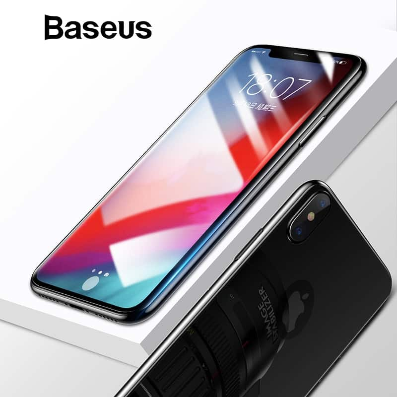 quality design 80ad5 30b87 Baseus Front Screen Protector + Back Tempered Glass For iPhone Xs Xs Max XR