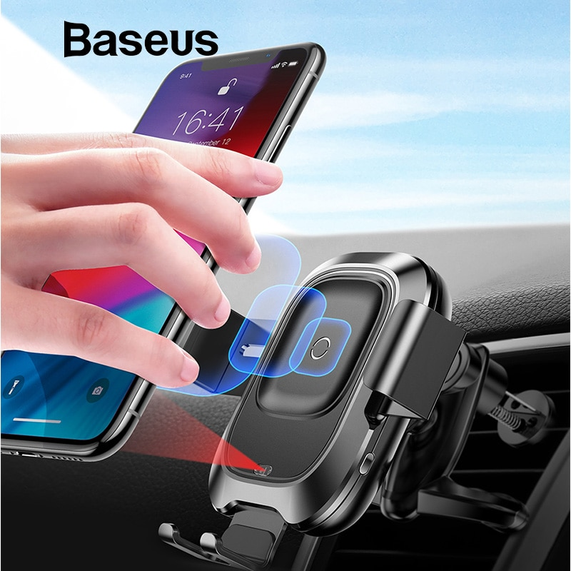 more photos 8ab7f 4e279 Baseus Intelligent Sensor Fast QI Wireless Charger Air Vent Mount Mobile  Car Phone Holder