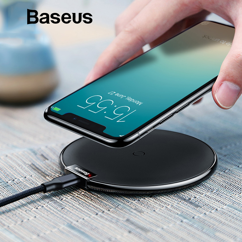 separation shoes 5d74d 9523d Baseus Leather Wireless Charger For iPhone X/XS Max XR Samsung S9 S9+ Note  9 8 Fast QI Wireless Charging Pad