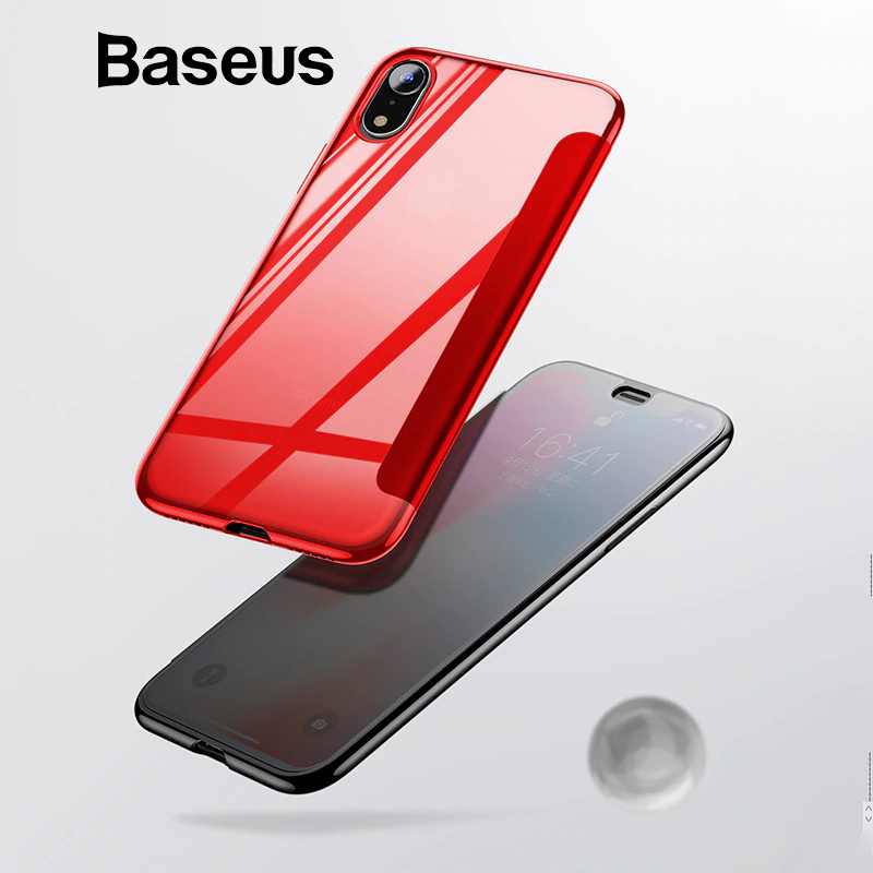 online retailer f31a1 85470 Baseus Luxury Tempered Glass Filp Case For iPhone Xs Xs Max